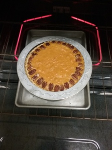 A pie guard keeps the crust from getting g too brown